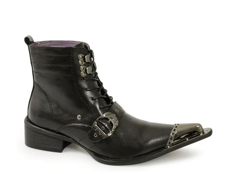 gucinari mens leather pointed metal toe boots black buy