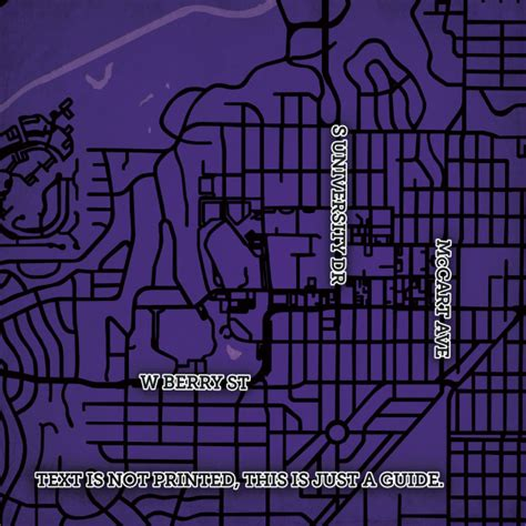 texas christian university map texas christian university cus map city prints