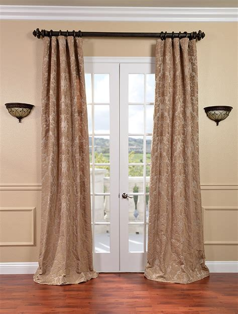 Genevieve Warm Taupe Faux Silk Jacquard Curtains Drapes