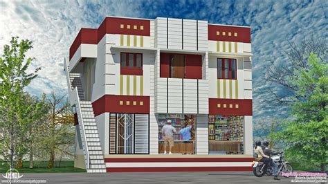 home with ground floor shops in 2000 sq kerala home