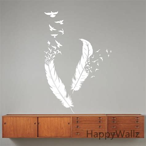 feather wallpaper home decor feather wall stickers feather wall decal diy modern vinyl wall removable wall decoration