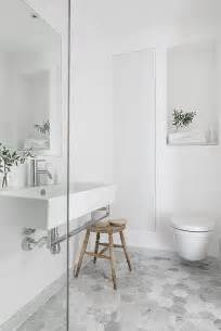 picture of ombre hexagon floor tiles with a carrara marble vintage white bathroom how to style a small bathroom