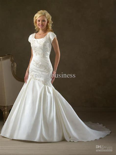 modest mermaid wedding dresses modest sleeves fishtail mermaid bridal wedding gown