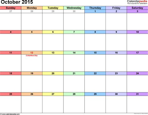 october 2015 calendars for word excel pdf