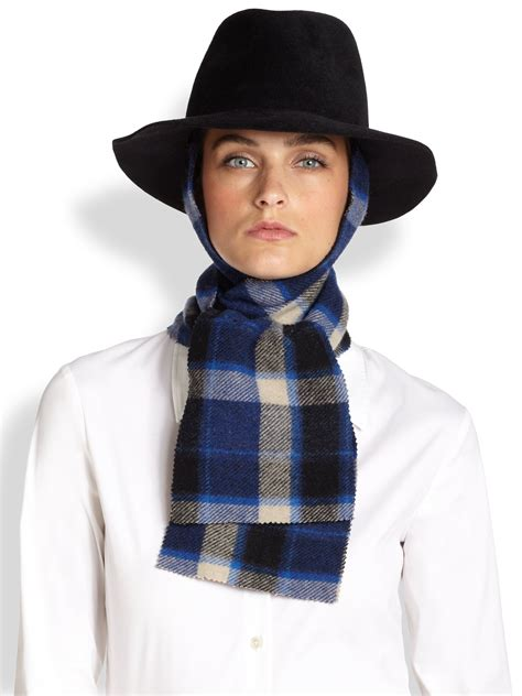 lola rabbit hair muffler removable scarf in blue black