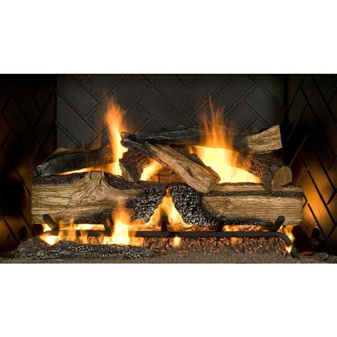 fireplace gas log inserts emberglow country split oak 24 in vented gas fireplace logs cso24ng the home depot