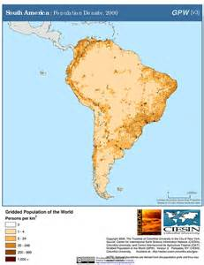 population map of south america map gallery sedac