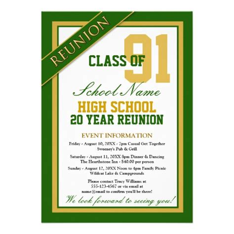 classy formal high school reunion custom invitation zazzle