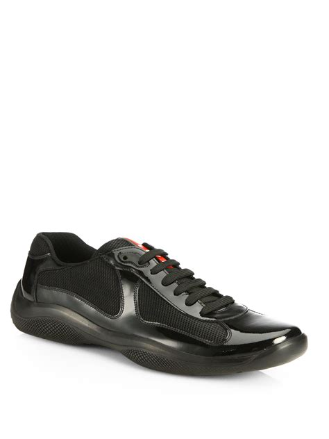prada sneakers prada patent america s cup sneakers in black for lyst
