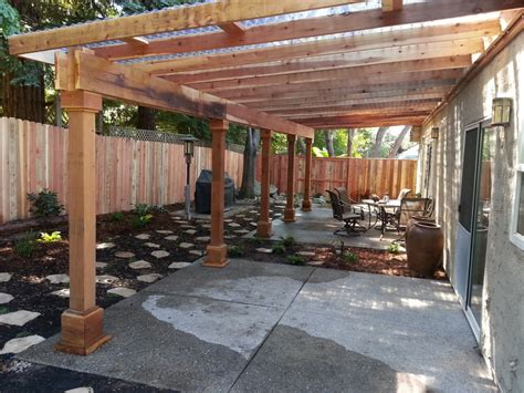 water efficient  yard   redwood pergola