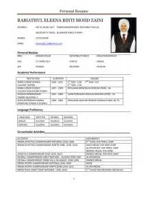 Contoh Format Resume by Resume Mrsm