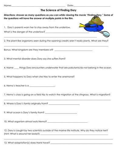 up film worksheet the science of finding dory movie worksheet by sventresca