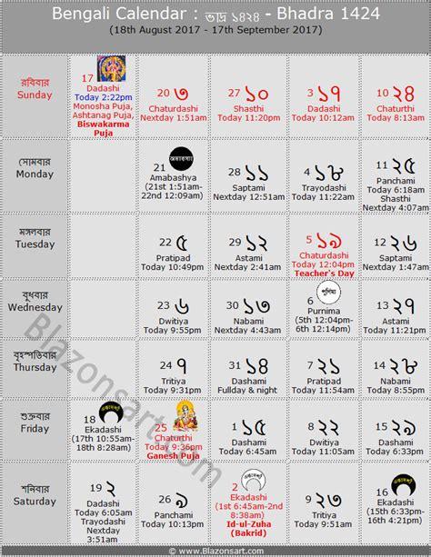 Bengali Calendar Bengali Calendar Bhadra 1424 ব ল ক ল ন ড র ভ দ র