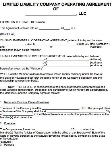 Free Nevada Llc Operating Agreement Template Pdf Word Llc Operating Agreement Michigan Template