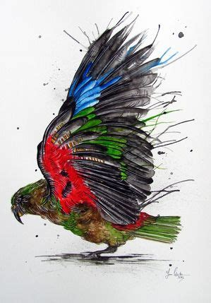 watercolor tattoo new zealand kea splash by www fiona clarke watercolor painting