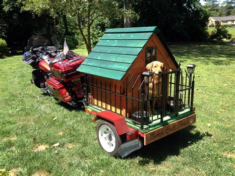 weird dog houses strange harley davidson motorcycle pulling trailer with full dog house fence back