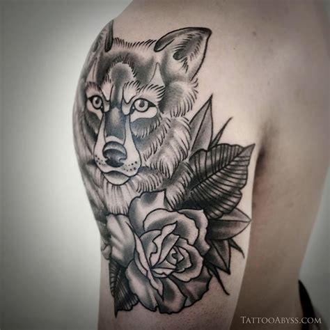 wolf with rose tattoo wolf with roses abyss