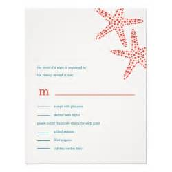 stylish starfish wedding rsvp response cards custom invite zazzle