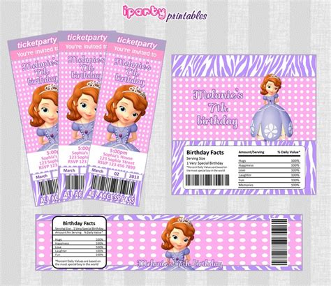 sofia the water bottle labels sofia the printables invitation bar wrapper