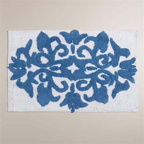 mediterranean blue and white medallion bath mat world market