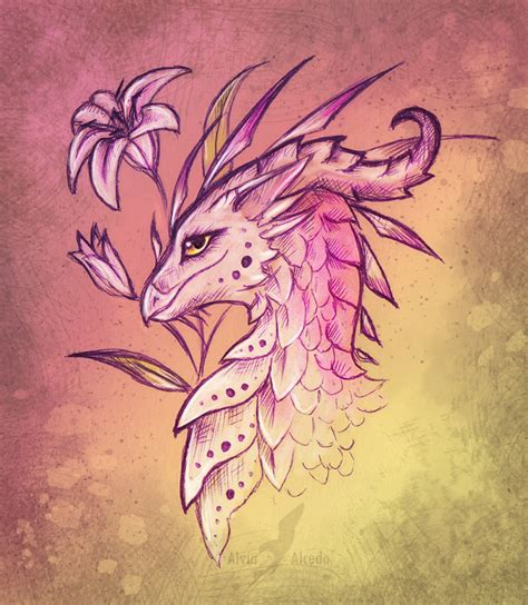 dragon lily tattoo design by alviaalcedo on deviantart