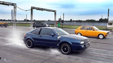 volkswagen corrado race car vw corrado vr6 engine turbo sound drag race