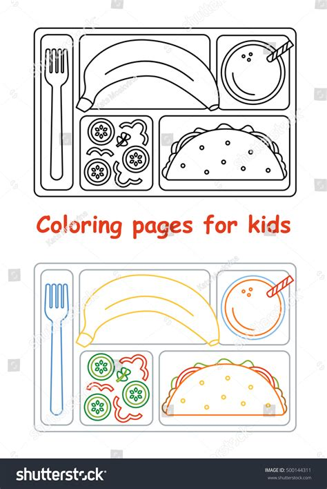 food tray coloring page coloring pages kids lunch tray line stock vector 500144311