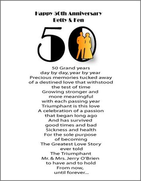 50th Wedding Anniversary Poems   Anniversary gifts