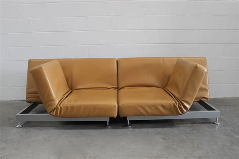 Edra Furniture by Pair Of Edra Damier Sofa Or Chaise Units In Leather