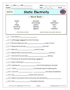 Bill Nye S Static Electricity Worksheet Answers