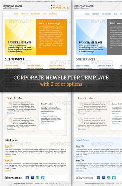 electronic newsletter template corporate professional email newsletter template