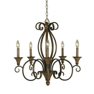 chester 5 light aruba teak chandelier