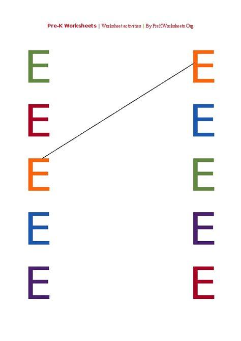 Pre K Worksheets Pdf by Preschool Alphabet Matching Color Letter Activities Pdf