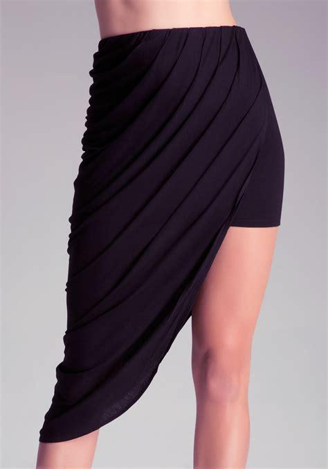 skirt draping bebe draped mini skirt in black blk lyst