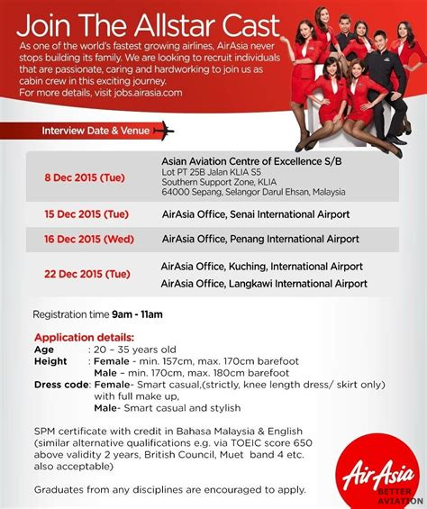 airasia career airasia cabin crew walk in interview malaysia december
