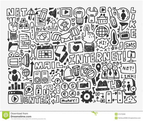 doodle free time doodle network element stock vector illustration of