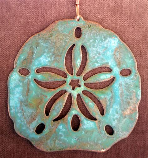 sand dollar copper verdigris christmas ornament