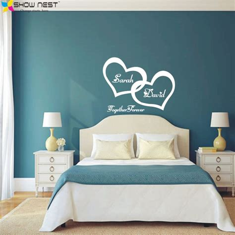 symbol  love  wall sticker double heart custom couple  bedroom wall decals wall art