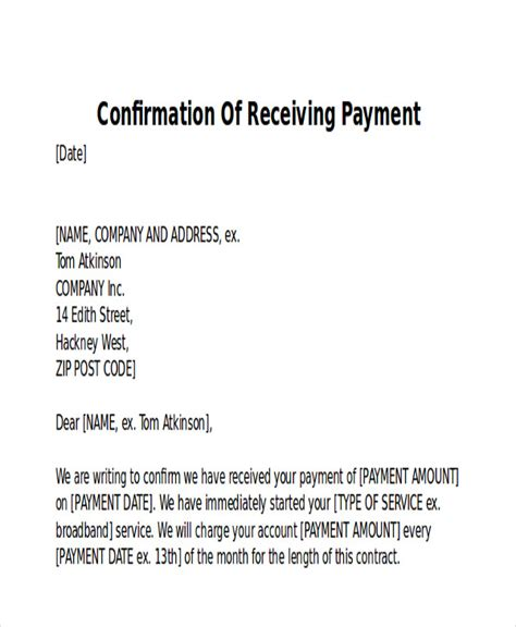 payment confirmation email template receipt of payment letter 7 exles in word pdf
