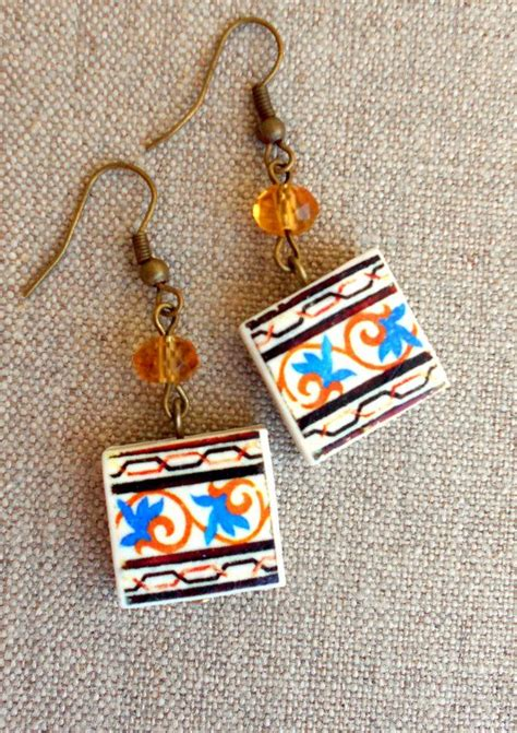 azulejo earrings portugal antique azulejo tile replica earrings from by