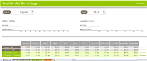 semi monthly budget template semi monthly home budget template budget templates