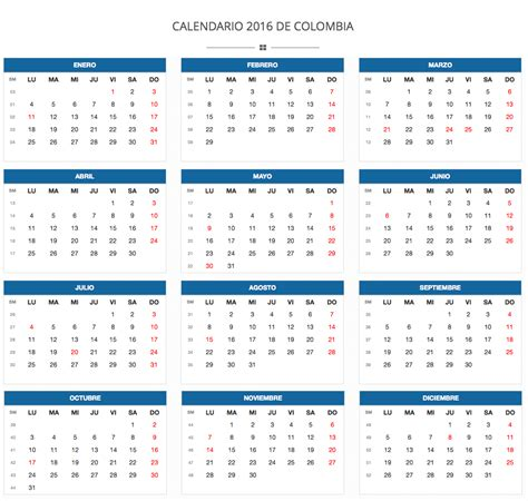 Calendario 2017 En Español Calendario 2017 Vector Colombia 2017 Calendar Printable