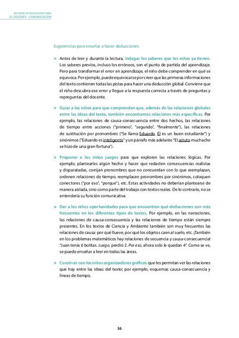 informe para el docente comprension lectora 2do grado 2013 minedu