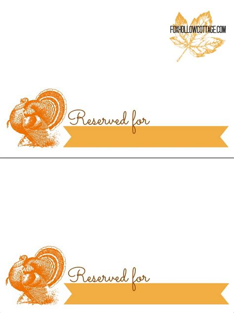 printable turkey place cards thanksgiving free printable series place card settings