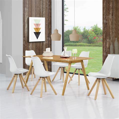 bambus esszimmer set en casa esstisch bambus braun mit 6 st 252 hlen wei 223 tisch