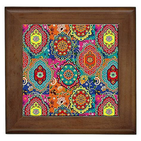 Gypsy Bedroom Decor Moroccan Colours Wall Art Framed Ceramic Tile Home Patio