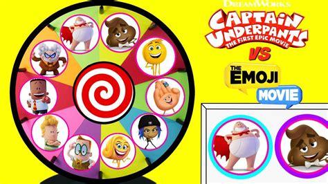 emoji film vs captain underpants vs emoji movie spinning wheel game