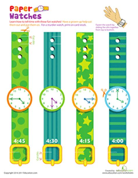printable paper watches watch time 1st grade printable watch worksheets