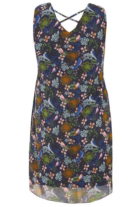 Classa Sling Bag 9014 9887 Black paprika navy multi bird print tiered tunic dress