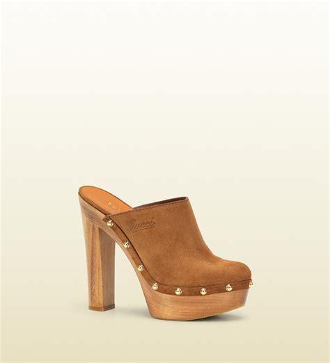 high heel clogs for gucci joplin high heel platform clog in brown lyst